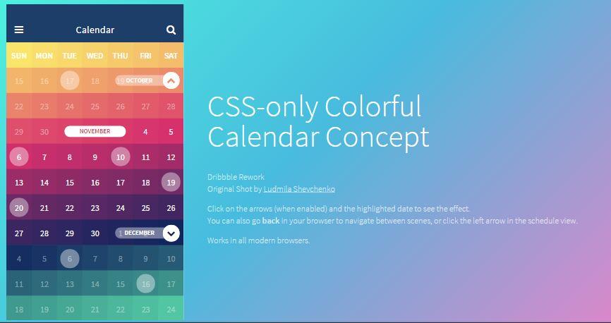 Free Calendar App Concept In CSS – wp gaint freebies