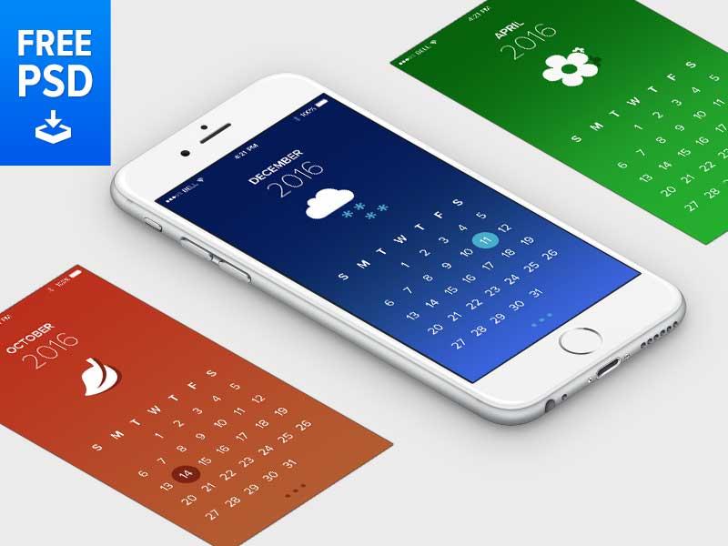 Free Psd Calendar App Template Wp Gaint Freebies
